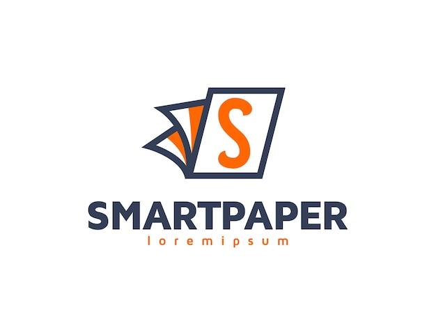 Modern slim onderwijslogo met letter s op papier