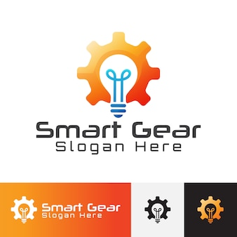 Modern smart gear-logo. brainstormen ideeën pictogram.