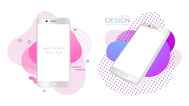 Modern smartphonemodel. realistische witte telefoons, mobiele gadgets op heldere abstracte vormen. advertentieontwerpelementen, schermgadgetreclame, weergavetechnologie. vector illustratie