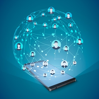 Modern sociaal mediaconcept. mobiel internet en sociale netwerken.