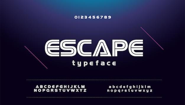 Modern sporttechnologie spel stedelijke lettertype alfabet