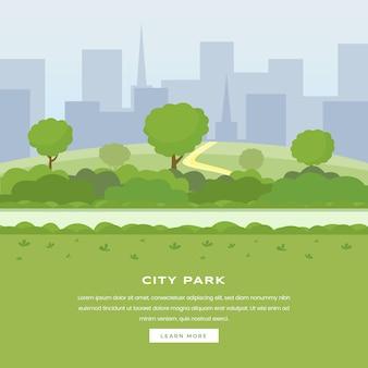 Modern stadspark. groene bomen en struikengangweg, wolkenkrabbers cityspace, openluchtvrije tijd op aardopenbaar gebied. recreatief stadspark, homepage van botanische tuinkleur website
