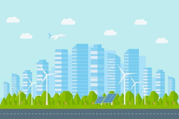 Modern stedelijk landschap met wolkenkrabbers. straat, snelweg met auto's, grote gebouwen op een achtergrond. stadsconcept met het leven in de voorsteden. platte vectorillustratie.