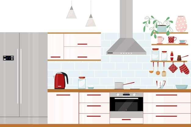 Modern stijlvol keukeninterieur met een dubbele koelkast oven afzuigkap keukengerei