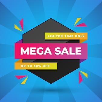 Modern super sale-bannerontwerp op blauw