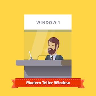 Modern teller venster met een werkende kassier