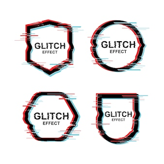 Modern text design frame met glitch effect vector