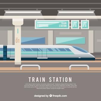 Modern treinstation in vlakke vormgeving