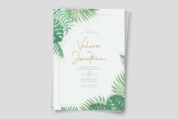 Modern tropisch sjabloonontwerp voor huwelijksuitnodigingen