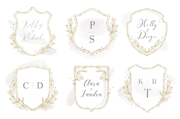 Modern trouwwapenlogo-ontwerp met lauweren en gouden glitter