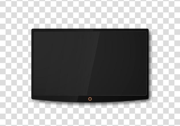 Modern tv-scherm. lege witte platte tv-scherm opknoping op een witte muur. lcd-scherm, tv digitaal paneel plasma
