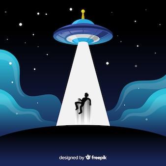 Modern ufo-abductieconcept met vlak ontwerp