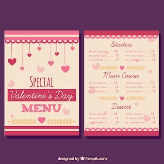 Modern valentijnskaart menu concept