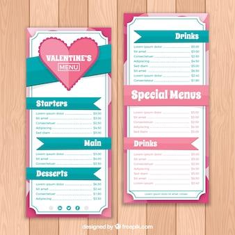 Modern valentijnskaartmenu