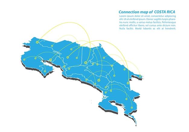 Modern van costa rica map-verbindingen netwerkontwerp