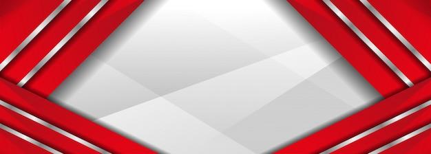 Modern van de abstracte rode en witte achtergrond van de overlappingsbanner