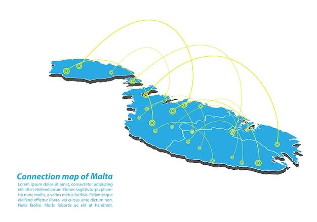 Modern van malta map-verbindingen netwerkontwerp