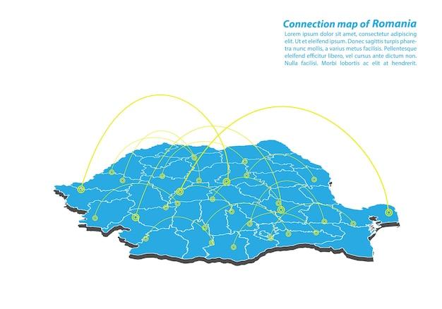 Modern van roemenië kaartverbindingen netwerkontwerp