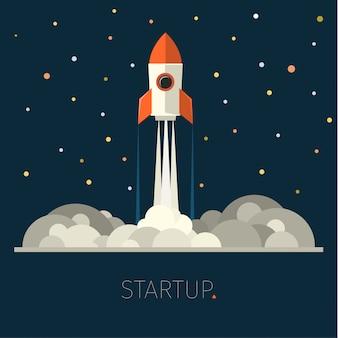 Modern vector illustratie concept voor het opstarten van een nieuw zakelijk project, de lancering van een nieuw product of dienst