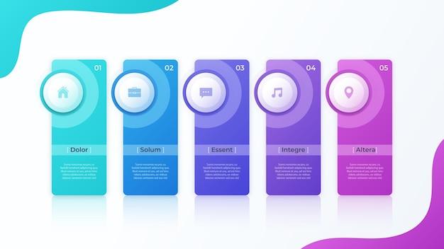 Modern vector infographic ontwerp met vijf optiesjabloon