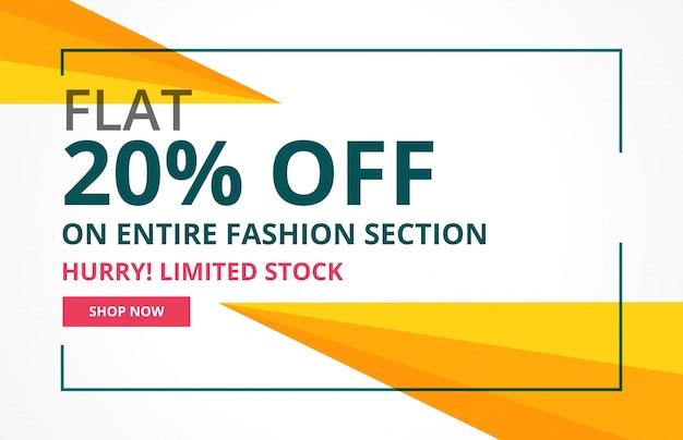 Modern verkoop banner ontwerp met geometrische vormen
