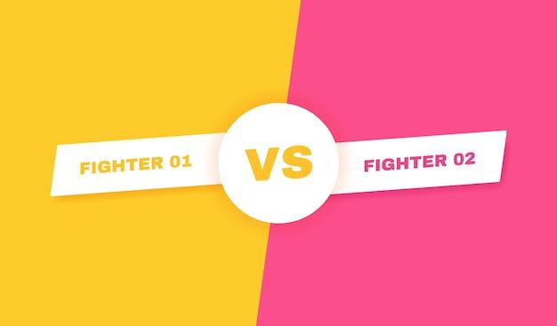 Modern versus gevechtsachtergrond. vs strijdkop. competities tussen deelnemers, vechters of teams. illustratie.