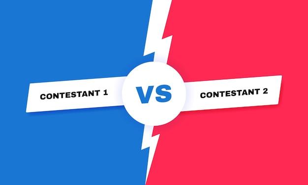 Modern versus gevechtsachtergrond. vs strijdkop met bliksemschicht. competities tussen deelnemers, vechters of teams. illustratie.
