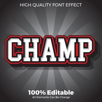 Modern vet sport champ tekststijl bewerkbaar lettertype effect
