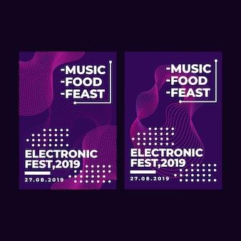 Modern vierkant webbanner elektronisch festival voor sociale media mobiele apps
