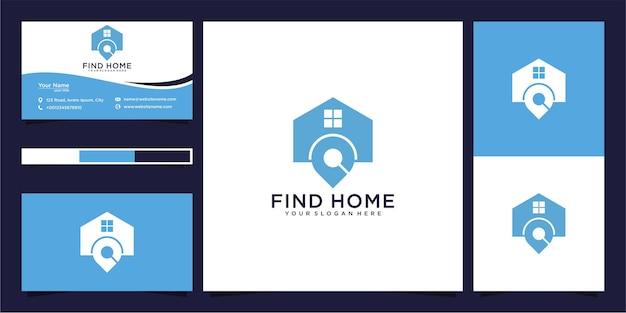 Modern vind thuislocatie en visitekaartje