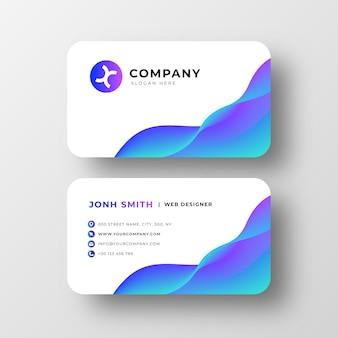 Modern visitekaartje met abstracte golven
