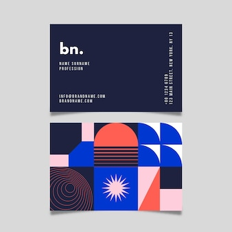 Modern visitekaartje met abstracte vormen