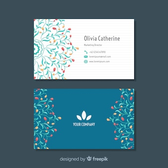 Modern visitekaartje met bloemenontwerp