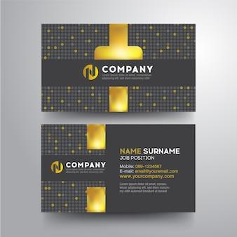 Modern visitekaartje met geometrische gouden grijze kleur