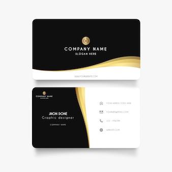 Modern visitekaartje met gouden golf