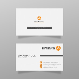 Modern visitekaartje met oranje kleur sjabloon vector eenvoudig