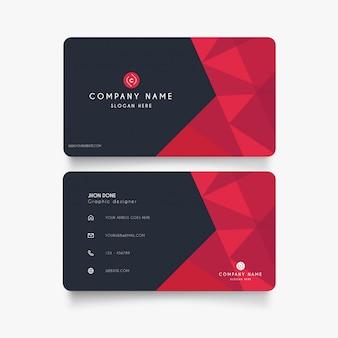Modern visitekaartje met rode vormen