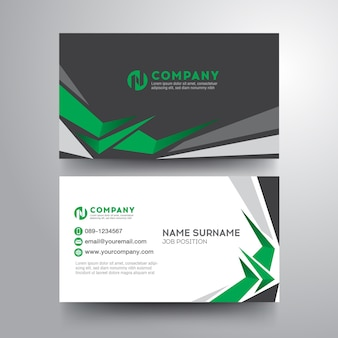 Modern visitekaartje met sterke geometrische groen grijze kleur