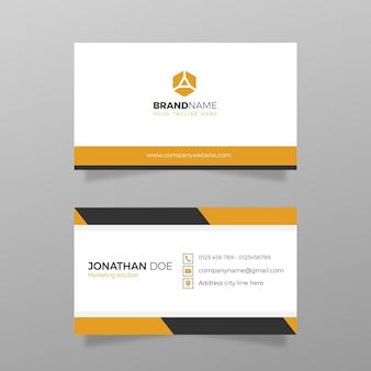 Modern visitekaartje schoon met oranje kleursjabloonvector