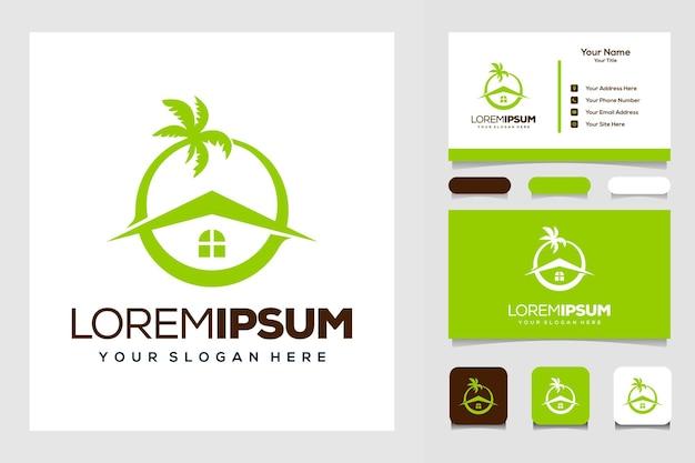 Modern visitekaartje voor palm- en huislogo-ontwerp