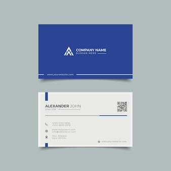 Modern visitekaartje wit en blauw elegant professioneel