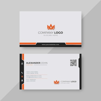 Modern visitekaartje wit en oranje elegant professioneel
