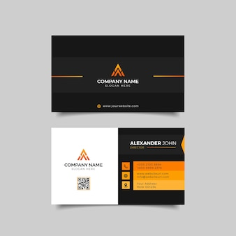 Modern visitekaartje witte en oranje elegante beroeps