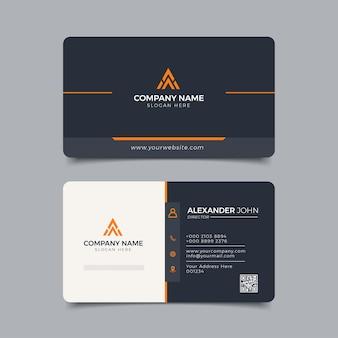 Modern visitekaartje zwart en geel corporate professional
