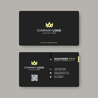 Modern visitekaartje zwart en geel elegant professioneel
