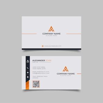 Modern visitekaartje zwart en oranje elegante beroeps