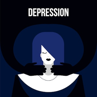Modern vlak de wanordeconcept van de depressie geestesziekte