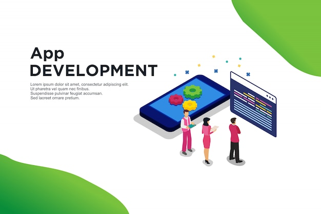 Modern vlak ontwerp isometrisch concept app-ontwikkeling
