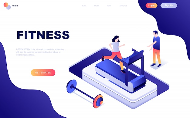 Modern vlak ontwerp isometrisch concept fitness