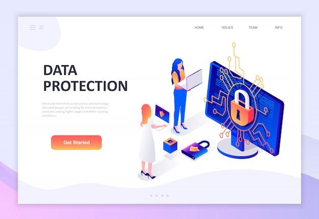 Modern vlak ontwerp isometrisch concept gegevensbescherming